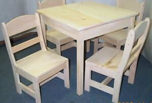 CHILD'S TABLE SQUARE TOP AND 4 CHAIRS ROUND BACK HAND MADE functional Boys & Gir