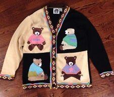 Storybook Knits HSN Teddy Bear Sweater Size M L Teacher Fairy Tale Cardigan