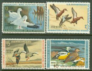 EDW1949SELL : USA 1970-73 Scott #RW37-40 All Very Fine, Mint NH. Catalog $150.00