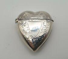 SUPERB CONDITION ANTIQUE SOLID STERLING SILVER HEART VESTA CASE BIRMINGHAM 1897