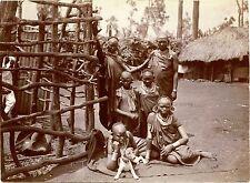 AFRICA NATIVES FAMILY CHILDREN DOG & ORIGINAL ca 1910s SNAPSHOT PHOTO
