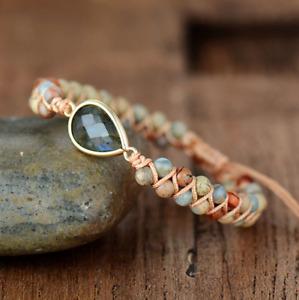 Natural Gemstone Jasper Beaded Labradorite Stacking Bracelet Stacks Friendship