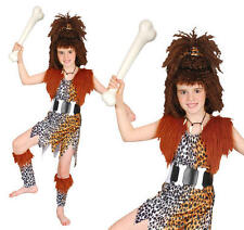 Childrens Cavegirl Fancy Dress Costume & Wig Girls Stoneage Outfit Childs Kids L