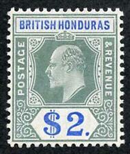 BRITISH HONDURAS SG92 1904-07 2 Dollars grey-green and blue