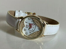 NEW! SANRIO HELLO KITTY GOLD-TONE SIMULATED CRYSTALS WHITE LEATHER WATCH $40