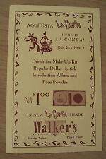 "VTG 1930's Makeup ADVERTISING Card~""WALKER'S"" The Friendly Store~Long Beach CA~"