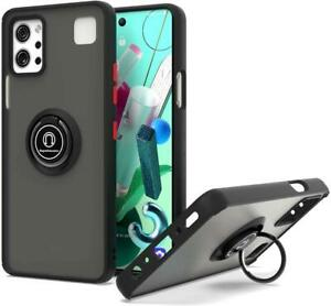 New For LG K92 5G 2020 Phone Ring Case Magnetic Metal Kickstand Clear Back Cover