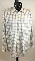 Peter Millar Long Sleeve Dress Shirt Mens Size XL Blue & Gray Plaid Button Down