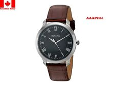 Bulova 96A184 Quartz Stainless Steel and Brown Leather Dress Men's Watch