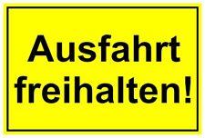 Schild Ausfahrt freihalten Hinweisschild Alu Verbundplatte gelb/schwarz