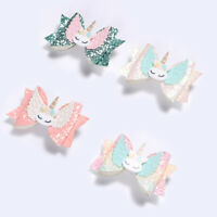 Unicorn Hair Clips Little Girl Shiny Sequin Bowknot Colorful Bow Kids US Refined