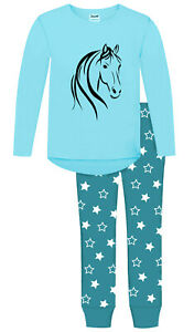 JUJAK GIRLS PALOMINO HORSE PONY PYJAMAS PJS - DESIGN 2 - MADE IN ENGLAND