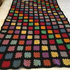VINTAGE HAND CROCHETED AFGHAN! COLORFUL SQUARES  56 INCHES BY 33 INCHES