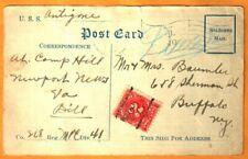 KofC RARE USS ANTIGONE TROOPSHIP POSTCARD 2¢ DUE 1919