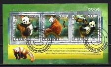 Animaux Pandas Guinée (266) série complète de 3 timbres oblitérés en feuillet