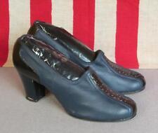 VINTAGE 1940s azul y negro de piel Tacón Zapatos Mujer Zapatillas 22.9cm Largo