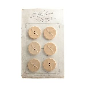 """Card (6) """"The Madison Square"""" Austrian Vintage natural wood flower buttons 30mm"""