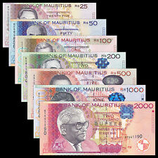 Mauritius set 7 PCS, 25 50 100 200 500 1000 2000 Rupees, UNC