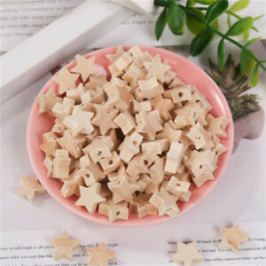 19mm Wood Stars Craft Beads 50-pack Bracelet Jewellery Making Spacers Hole 2.5mm