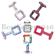 1pc Silicone Nurse Quartz Watch Square Dial Tunic Brooch Fob +5pcs Silicone Case