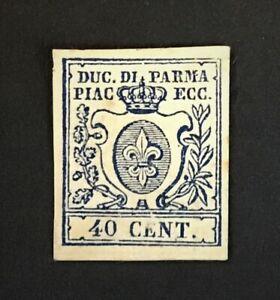 PARMA 1857 40c. blue imperf MLH no gum / signed CV £60