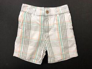 JANIE AND JACK Coastal Jungle Boys Plaid Shorts Size 12-18 Months