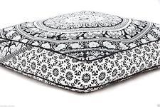 "35"" Large Black & White Elephant Mandala Floor Cushion Cover Pillow Covers Throw"