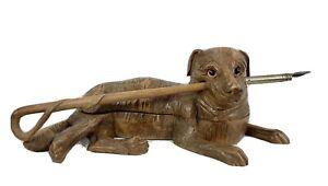 Antique Black Forest German Hand Carved Dog, Leash, Pen, Inkwell