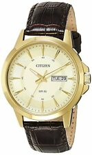 Citizen Analog Mens Dress Watch 50M Leather Strap GP Case BF2012-08P UK Seller