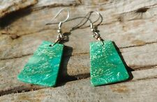 Earrings Green Native American Jewelry Rare Navajo Turquoise and Sterling Silver