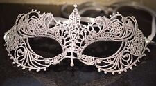 Silver Masquerade Mask Satin Ribbons Weddings New Year Xmas Party Masked Balls