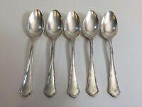 """Vintage Set of 5 Wiskemann 30 Silverplate Heavy Dinner Spoons, 7 3/4"""" Long"""