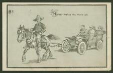 Money makes the mare go - 1912 Vintage Postcard Humour  Posted Antigo, Wisconsin