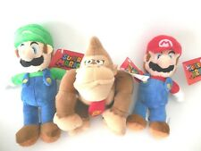 Nintendo Mario Luigi and Donkey Kong Plush Doll Set 3pc 8.5 inches