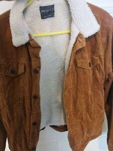 Mens Tan Corduroy  Cord Trucker Jacket Coat Small