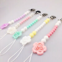 Silicone Bead Flower Teether Baby Teething Toy Pacifier Chain Clip Nipple Holder