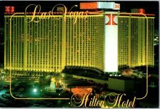 Hilton closed Las Vegas of Strip Elvis Hotel Casino postcard aerial Night Neon C