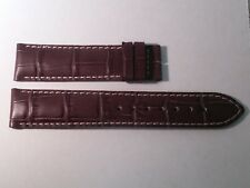 Leather Watch Band crocodile style Grey w/WHITE stitch, 18/17mm, padded