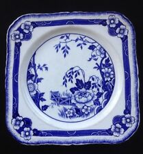 "Vintage Alfred Meakin Jesmonde Blue & White Square Plate. 8""x 8""  Scalloped Edge"