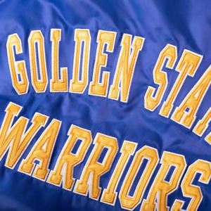 Starter G III Golden State Warriors The Champ Varsity Satin Royal Jacket LSI3036