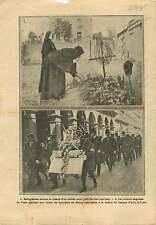 WWI Tombe Poilus/Statue Jeanne d'Arc Place des Pyramides Paris 1915 ILLUSTRATION