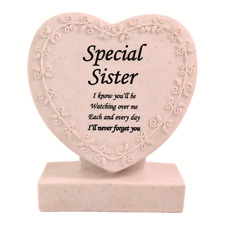 Special Sister Heart Shaped Memorial Grave Plaque Cremation Marker