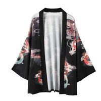 Women Kimono Coat Yukata Outwear Cardigan Vintage Chinese Dragon Jacket Haori