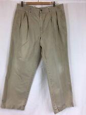 Claiborne Men's Pleated Cuffed Khaki Pants Beige Tan Size 40S