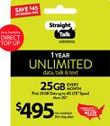 Straight Talk $495 Refill Card 25GB LTE Unlimited Talk,Data,Text1 Year Plan