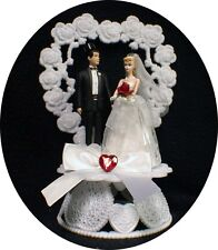 1950 STYLE Blond Hair Barbie  Ken Wedding Cake Topper classic. Bride groom