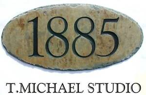 HANGING ADDRESS SIGN DOUBLE SIDED STONE Mailbox/Number