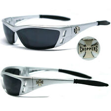 Choppers Motorcycle Riding Glasses Sunglasses - Silver Fame Black Lens C46