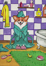 Print Of Painting Pembroke Welsh Corgi Ryta Bath Ducks Folk Art Bathroom Decor