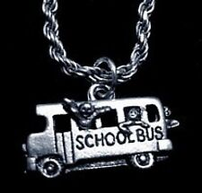 LOOK School Bus kids students Pendant Sterling Silver Charm